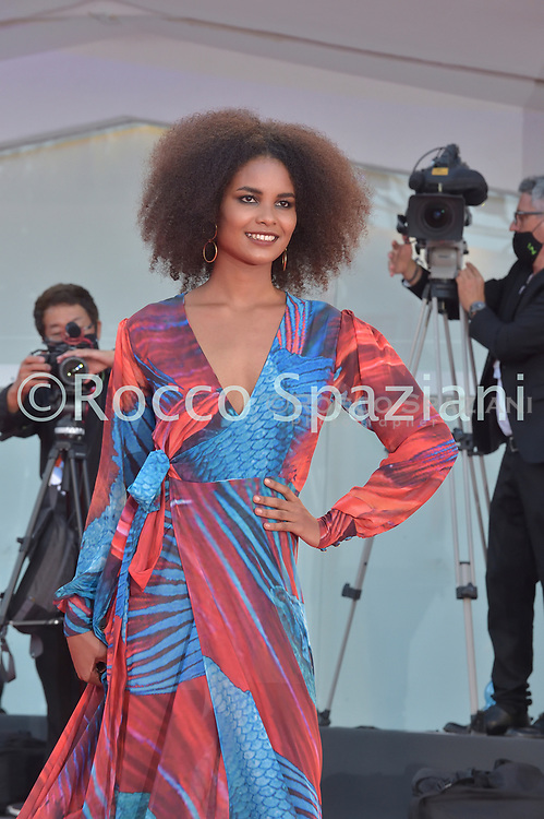 VENICE, ITALY - SEPTEMBER 12: Indira Andrewin walk the red carpet ahead of closing ceremony at the 77th Venice Film Festival on September 12, 2020 in Venice, Italy.<br /> (Photo by Rocco Spaziani)
