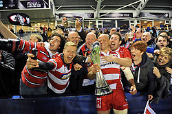 Nick Wood of Gloucester Rugby celebrates with supporters after the match - Photo mandatory by-line: Patrick Khachfe/JMP - Mobile: 07966 386802 01/05/2015 - SPORT - RUGBY UNION - London - The Twickenham Stoop - Edinburgh Rugby v Gloucester Rugby - European Rugby Challenge Cup Final