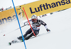 """David Chodounsky (USA) competes during 1st Run of FIS Alpine Ski World Cup 2017/18 Men's Slalom race named """"Snow Queen Trophy 2018"""", on January 4, 2018 in Course Crveni Spust at Sljeme hill, Zagreb, Croatia. Photo by Vid Ponikvar / Sportida"""