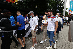 © Licensed to London News Pictures. 07/07/2021. London, UK. England fans queue to enter Box Park near Wembley Stadium ahead of the Euro 2020 semi final between England and Denmark. England are attempting to reach their first final since 1966. Photo credit: Ben Cawthra/LNP