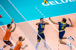 Dardan Lushtaku of Sweden, Jens Ahremark of Sweden, Thijs Ter Horst of Netherlands in action during the CEV Eurovolley 2021 Qualifiers between Sweden and Netherlands at Topsporthall Omnisport on May 14, 2021 in Apeldoorn, Netherlands