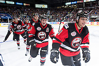fKELOWNA, CANADA - NOVEMBER 9: Kale Clague #11 and Joe Hicketts #2 of Team WHL celebrates a goal against the Team Russia on November 9, 2015 during game 1 of the Canada Russia Super Series at Prospera Place in Kelowna, British Columbia, Canada.  (Photo by Marissa Baecker/Western Hockey League)  *** Local Caption *** Kale Clague; Joe Hicketts;