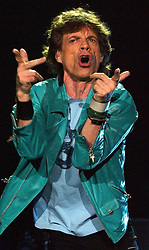 Mick Jagger, lead singer of the Rolling Stones, performs at the Wembley Arena, west London, as part of the band's Forty Licks 2003 world tour.