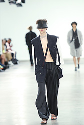 June 8, 2019 - United Kingdom - A model presents a new Spring/Summer 2020 MUNN collection during London Fashion Weak Men's in the old Truman's Brewery show space in London on the June 8, 2019. (Credit Image: © Dominika Zarzycka/NurPhoto via ZUMA Press)
