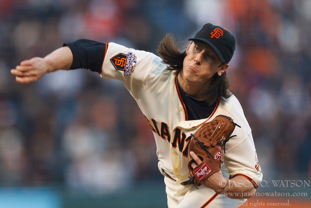 May 10, 2011; San Francisco, CA, USA;  San Francisco Giants starting pitcher Tim Lincecum (55) pitches against the Arizona Diamondbacks during the second inning at AT&T Park.