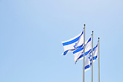 Israel, Ben-Gurion international Airport three Israeli Flags