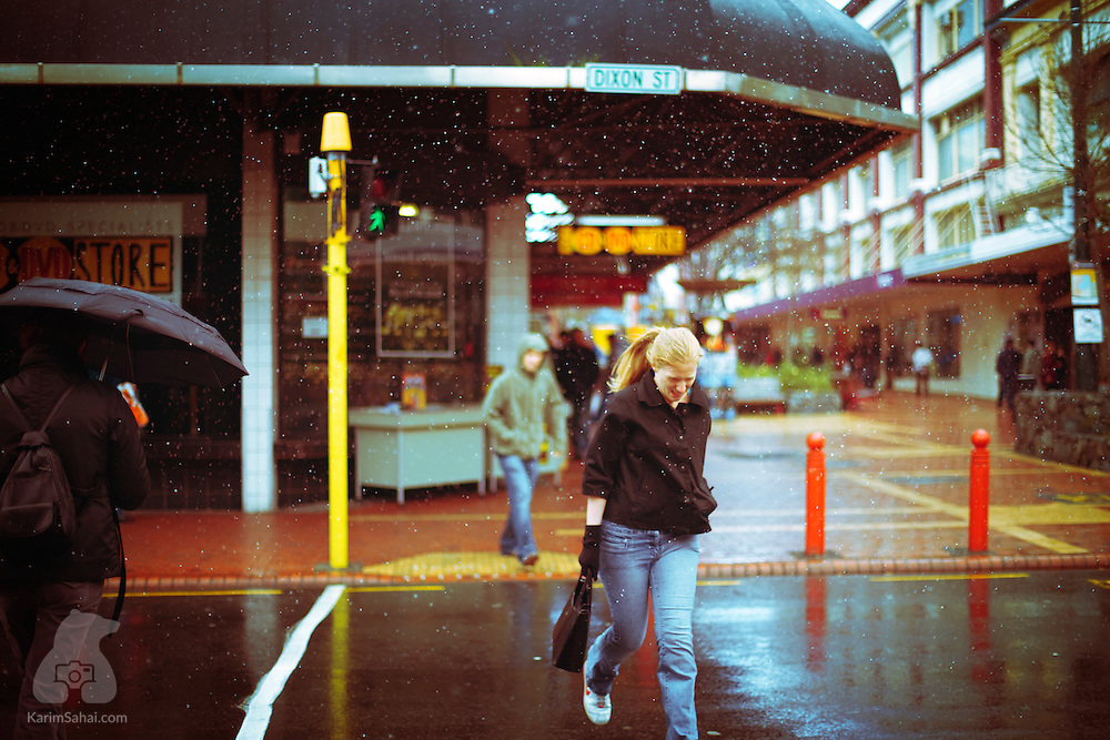 In a rare occurrence, snow falls in New Zealand's capital, Wellington, on july 5 2008.