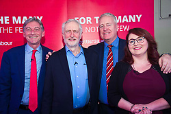 Pictured: Richard Leonard, Jeremy Corbyn, Ian Lavery and Daniell Rowley<br /> <br /> Jeremy Corbyn and Richard Leonard joined the Scottish Labour faithful tonight at a rally in at the Shottstown Miners Welfare Halls in Penicuik.<br /> <br /> They were joined by Labour MPs Ian Lavery and Danielle Rowley