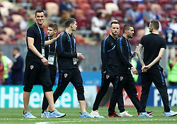 Left to right, Croatia's Lovre Kalinic, Andrej Kramaric, Dominik Livakovic, Ivan Rakitic, Mateo Kovacic and Marcelo Brozovic before the FIFA World Cup 2018 final at the Luzhniki Stadium in Moscow, 15th July 2018