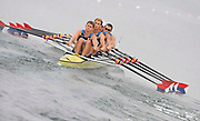 Shunyi, CHINA.  Heat of the Men's Quads, USA. M4X,    Bow, Matthew HURGES, Sam STITT, Jamei SCHROEDER and Scott GAULT, move away from the start, at the 2008 Olympic Regatta, Shunyi Rowing Course. Sunday 10.08.2008  [Mandatory Credit: Peter SPURRIER, Intersport Images]