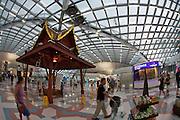 Bangkok's brand new Suvarnabhumi airport. Duty free shopping area. Finishing touches.
