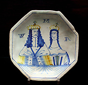 Plate: King William and Queen Mary.  Probably London, Lambeth, about 1690-1695.  Inscribed R W M.
