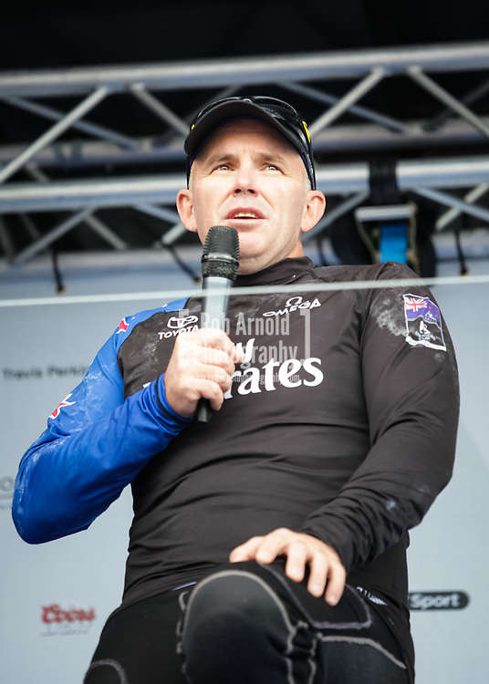 Emirates Team New Zealand's Ray Davies in Portsmouth following the first day of sailing at the America's Cup Series event.