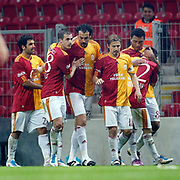 Galatasaray's Servet CETIN (C) celebrate his goal with team mate during their Turkish Super League soccer match Galatasaray between Kasimpasaspor at the TT Arena at Seyrantepe in Istanbul Turkey on Monday 09 May 2011. Photo by TURKPIX