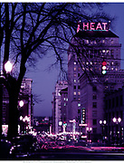 """Y-540111-01. Color night view looking north on SW 6th from Jefferson, shot with 15"""" lens 15 sec at f 16. January 11, 1954"""