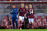 New signing, Stephen Kingsley (#21) of Heart of Midlothian FC comes on to make his debut during the Betfred Scottish League Cup match between Heart of Midlothian and Inverness CT at Tynecastle Park, Edinburgh, Scotland on 6 October 2020.