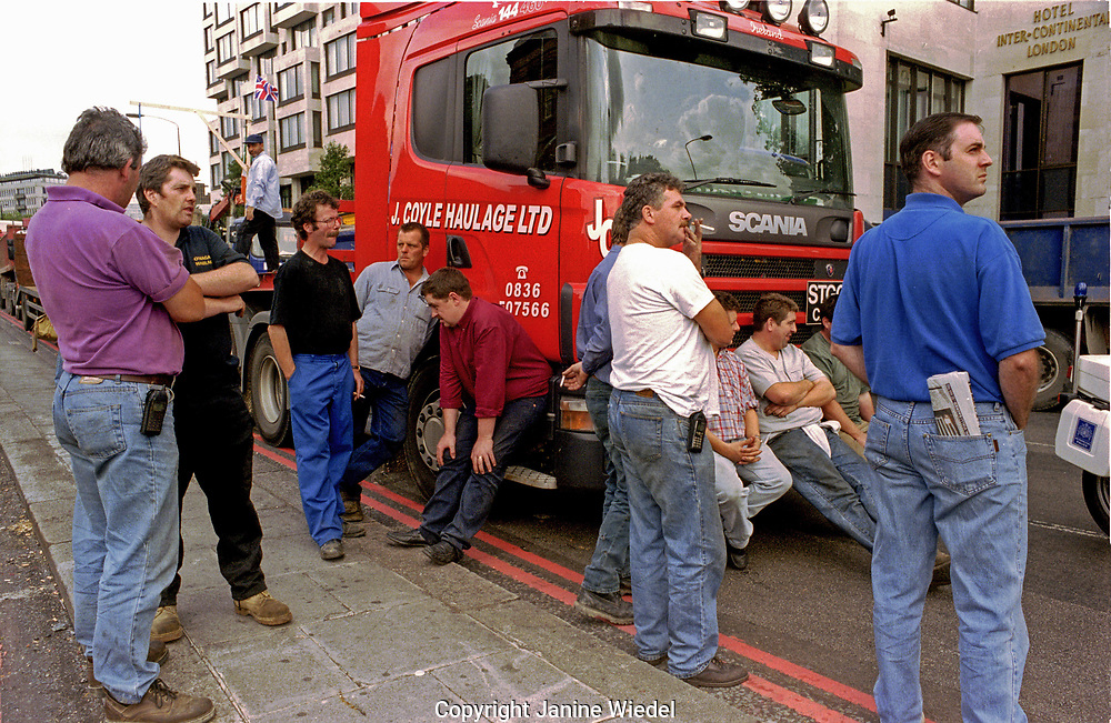 Lorries and drivers lined up blocking Park Lane during Fuel protest in London in 2000  led by independent lorry owner-operators demanding a reduction of the fuel duty rate on petrol and diesel. Many petrol pumps ran dry in a blockade by farmers and hauliers who were protesting against the increasing price of fuel at 80p a litre.
