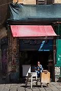 Market stall in Piazza Caracciolo, Vicolo Mezzani, Palermo, Italy.