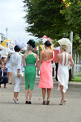 Race goers at the Qatar Goodwood Festival, Goodwood, West Sussex England. 3 August 2017.<br /> Photo by Dominic O'Neill/SilverHub 0203 174 1069 sales@silverhubmedia.com