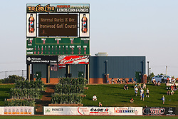 11 July 2012:  Beyond Right field is a display of corn and the video scoreboard during the Frontier League All Star Baseball game at Corn Crib Stadium on the campus of Heartland Community College in Normal Illinois