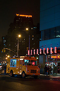 Union Square sign and mud truck coffee, Manhattan, New York