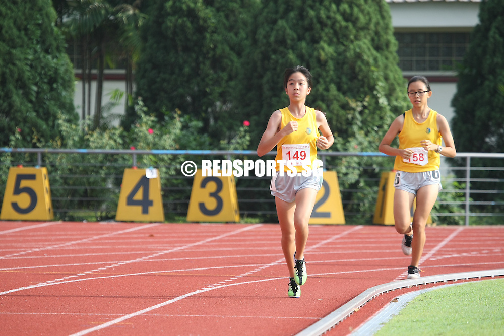 Choa Chu Kang Sports Complex, Monday, April 15, 2013 — At the 54th National Inter-School Track and Field Championships, Nah Yi Xin (#149) of Cedar Girls' Secondary clinched gold in the B Division 3,000 metres final.<br /> <br /> Story: http://www.redsports.sg/2013/04/18/b-div-3000m-nah-yi-xin-cedar-girls/