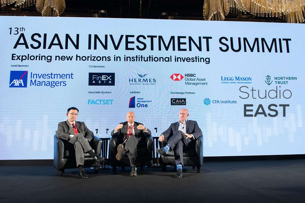 Panel Discussion ''Making the most of your portfolio'' with Benjamin Rudd, Chief Investments Officer, Prudential Hong Kong, William Chan, Chief Investment Officer, Hong Kong, HSBC Insurance, Philip Cheng, Associate Professor of Finance, The Hong Kong University of Science and Technology, and moderator Andrew Crooke, Conference Producer, AsianInvestor, during the 13th Asian Investment Summit at The Ritz-Carlton Hotel, in Hong Kong, China, on 30 May 2018. Photo by Lucas Schifres/Studio EAST