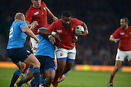 Mathieu Bastareaud of France charges through the Italian defence. Rugby World Cup 2015 pool D match, France v Italy at Twickenham Stadium in London on Saturday 19th September 2015.<br /> pic by John Patrick Fletcher, Andrew Orchard sports photography.
