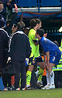 Photo: Alan Crowhurst.<br />Chelsea v Barcelona. UEFA Champions League. 22/02/2006.<br />Chelsea's Asier Del Horno receives the red card.