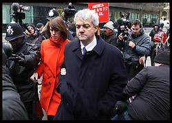 Chris Huhne  arriving for sentencing  at Southwark Crown Court with his girlfriend Carina Trimingham in London, Monday, 11th March 2013  Photo by: Stephen Lock / i-Images