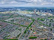Nederland, Provincie, Gemeente; 14-05-2020; <br /> Nederland, Zuid-Holland, Rotterdam; 14–05-2020; Rotterdam-Zuid, stadsdeel Feijenoord met de wijken Hillesluis en Bloemhof (links). Hillevliet richting Afrikaanderwijk.<br /> Feyenoord district, South Rotterdam.<br /> <br /> luchtfoto (toeslag op standaard tarieven);<br /> aerial photo (additional fee required)<br /> copyright © 2020 foto/photo Siebe Swart