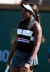 March 8, 2019 - Indian Wells, CA, U.S. - INDIAN WELLS, CA - MARCH 08: Sloane Stephens (USA) reacts after losing a point during the second round of the BNP Paribas Open on March 08, 2019, at the Indian Wells Tennis Gardens in Indian Wells, CA. (Photo by Adam Davis/Icon Sportswire) (Credit Image: © Adam Davis/Icon SMI via ZUMA Press)
