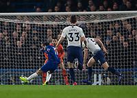 Football - 2018 / 2019 EFL Carabao Cup (League Cup) - Semi-Final, Second Leg: Chelsea (0) vs. Tottenham Hotspur (1)<br /> <br /> Pedro (Chelsea FC)  cuts inside Jan Vertonghen (Tottenham FC)  and tests Paulo Gazzaniga (Tottenham FC) at Stamford Bridge <br /> <br /> COLORSPORT/DANIEL BEARHAM