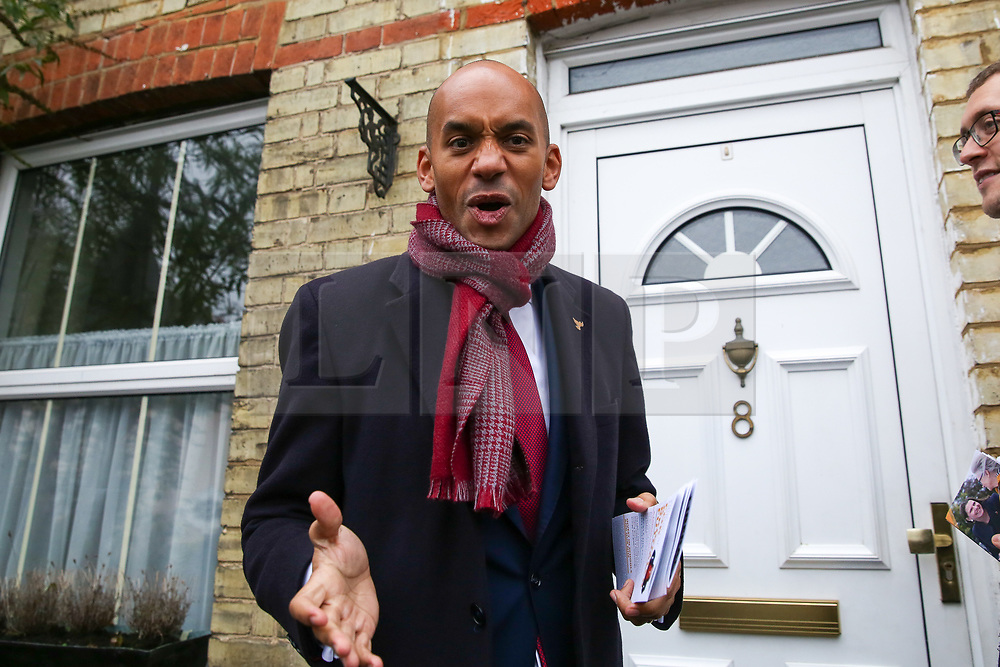 © Licensed to London News Pictures. 25/11/2019. Watford,  Hertfordshire UK. Liberal Democrat Foreign Affairs Spokesman and candidate of Cities of London & Westminster, CHUKA UMUNNA canvassing in Watford. Britons go to the polls on 12 December in a General Election.Photo credit: Dinendra Haria/LNP