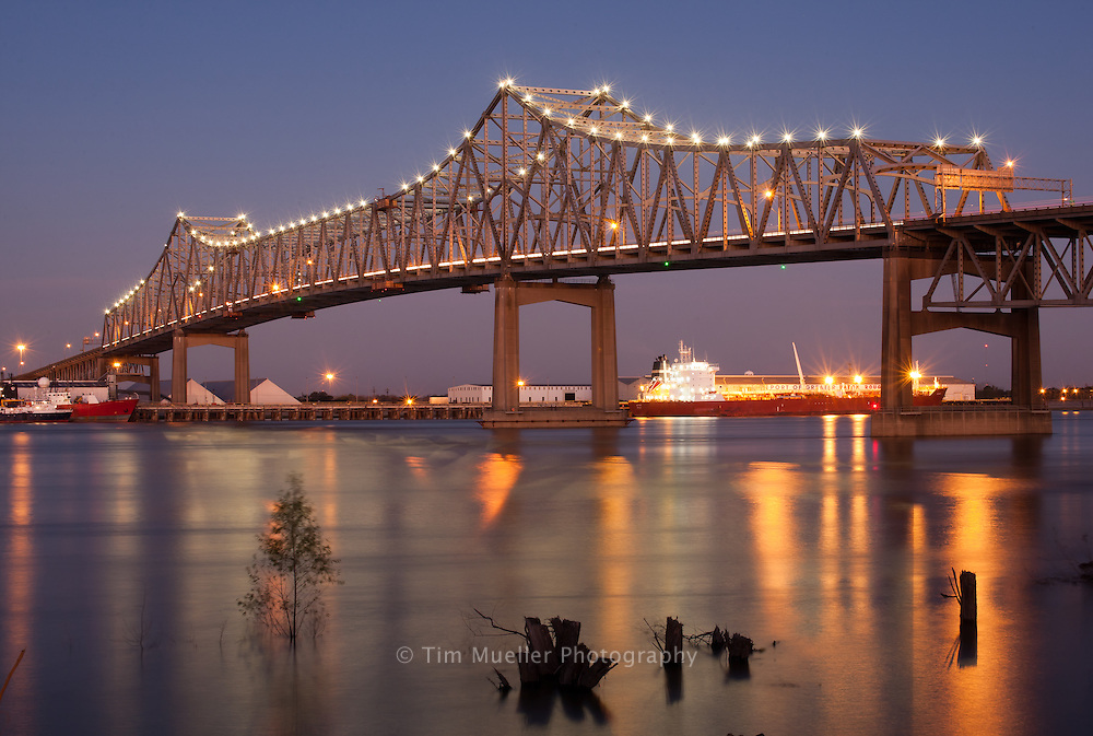 Interstate 10 crosses the Misssippi River to Port Allen and the Port of Greater Baton Rouge.