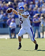 MANHATTAN, KS - NOVEMBER 07:  Quarterback Todd Reesing #5 of the Kansas Jayhawks gets ready to throw the ball down field in the second quarter against the Kansas State Wildcats on November 7, 2009 at Bill Snyder Family Stadium in Manhattan, Kansas.  (Photo by Peter G. Aiken/Getty Images)