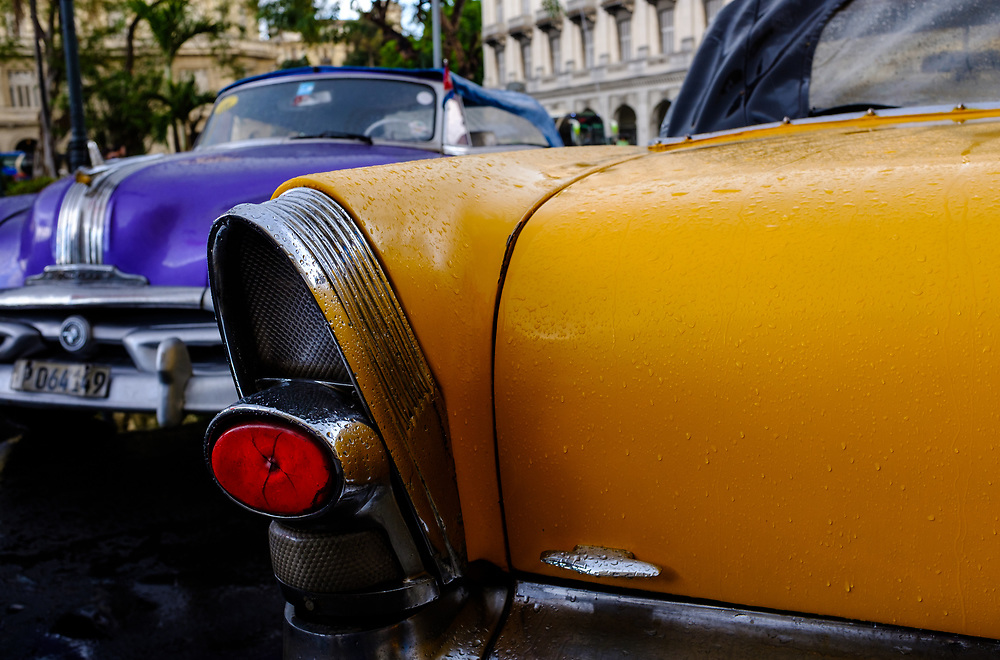 HAVANA, CUBA - CIRCA MARCH 2017: Detail of old classic cars in Havana.