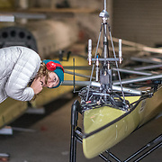 Inspecting the camera equipment<br /> <br /> Crews prepare for Sunday's 165th Boat Race between Oxford and Cambridge, River Thames, London, Thursday 4th April 2019. © Copyright photo Steve McArthur / www.photosport.nz