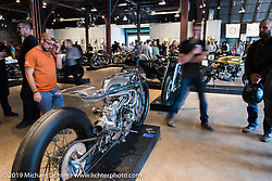 Max Hazan's Harley-Davidson Ironhead supercharged Sportster at the Friday night opening of the Handbuilt Motorcycle Show. Austin, TX. April 10, 2015.  Photography ©2015 Michael Lichter.