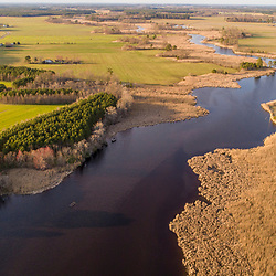 Drone view of fields, forest, and wetlands in Church Creek, Maryland.