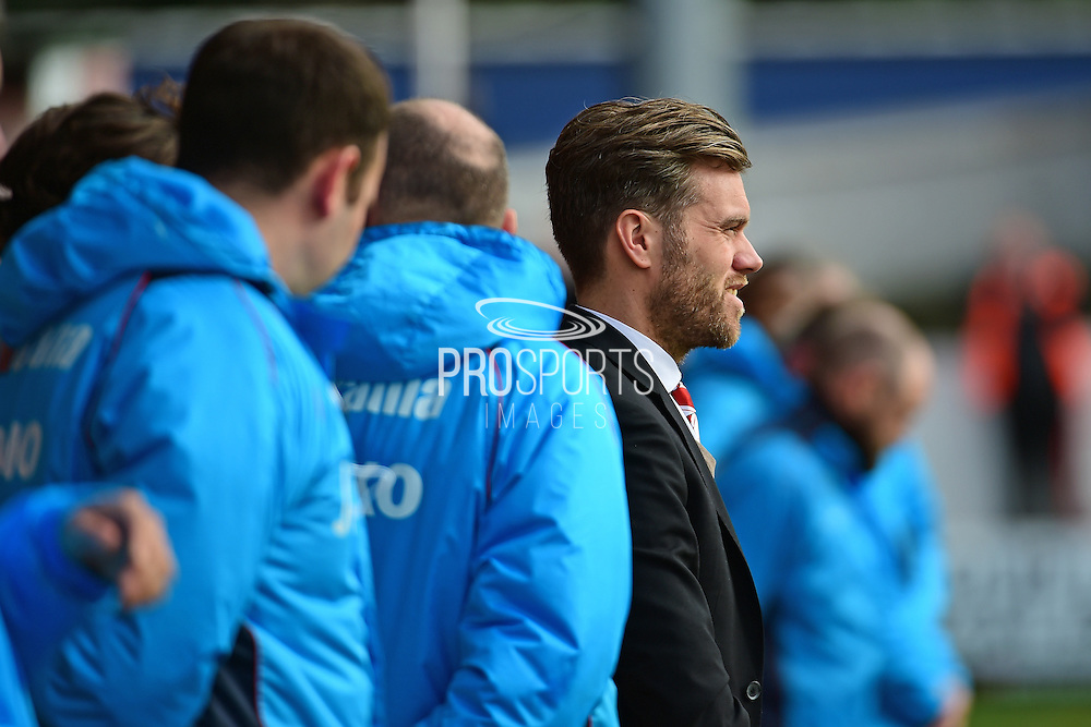 Ebbsfleet United Manager Darryl McMahon during the Vanarama National League South match between Ebbsfleet United and East Thurrock United at the Enclosed Ground, Whitehawk, United Kingdom on 4 March 2017. Photo by Jon Bromley.