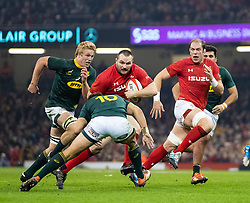 Ken Owens of Wales under pressure from Handre Pollard of South Africa<br /> <br /> Photographer Simon King/Replay Images<br /> <br /> Under Armour Series - Wales v South Africa - Saturday 24th November 2018 - Principality Stadium - Cardiff<br /> <br /> World Copyright © Replay Images . All rights reserved. info@replayimages.co.uk - http://replayimages.co.uk