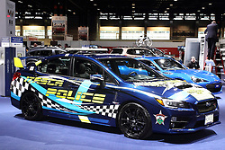 12 February 2015:   Police cruiser by Subaru.<br /> <br /> First staged in 1901, the Chicago Auto Show is the largest auto show in North America and has been held more times than any other auto exposition on the continent. The 2015 show marks the 107th edition of the Chicago Auto Show. It has been  presented by the Chicago Automobile Trade Association (CATA) since 1935.  It is held at McCormick Place, Chicago Illinois