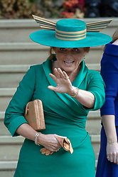 Sarah, Duchess of York outside St George's Chapel in Windsor Castle after the wedding of Princess Eugenie and Jack Brooksbank.