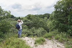 Hikers at Scyene Overlook, Great Trinity Forest, Dallas, Texas, USA