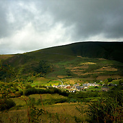 View of the small village of Balouta Spain's Ancares mountains