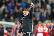 Manchester United Head Coach Ole Gunnar Solskjær  celebrates at full time during the Europa League match between Club Brugge and Manchester United at Jan Breydel Stadion, Brugge, Belguim on 20 February 2020.