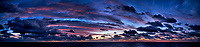 Colorful Dawn Panorama at Sea from the Aft Deck of the MV World Odyssey While Crossing the Pacific Ocean. Composite of 7 images taken with a  Fuji X-T1 camera and 23 mm f/1.4 lens (ISO 1600, 23 mm, f/1.4, 1/30 sec). Raw images processed with Capture One Pro and AutoPano Giga Pro.