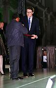 Uitreiking van de Prins Claus Prijs 2014 n het Koninklijk Paleis in Amsterdam.<br /> <br /> Presentation of the Prince Claus Award in 2014 n the Royal Palace in Amsterdam.<br /> <br /> op de foto / On the photo: <br />  Prins Constantijn en de Colombiaanse kunstenaar en plantenexpert Abel Rodriguez / Prince Constantijn and the Colombian artist and plant expert Abel Rodriguez