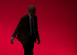 © Licensed to London News Pictures. 29/09/2015. Brighton, UK. Labour party leader JEREMY CORBYN after delivering his leaders speech on day three of the 2015 Labour Party Conference, held at the Brighton Centre in Brighton, East Sussex.  Photo credit: Ben Cawthra/LNP